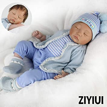 ZIYIUI Bebe Reborn niño Vinilo Suave Silicona 55 CM 22 Inch Reborn Bebé Realista Muñeca Niños Rel Reborn Baby Doll Pequeños Magnetismo Juguetes Boy ...