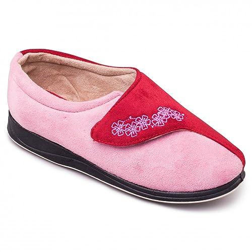 ca9c986a174 Padders HUG Ladies Microsuede Velcro Extra Wide (EE) Fitting Slippers  Pink-Red