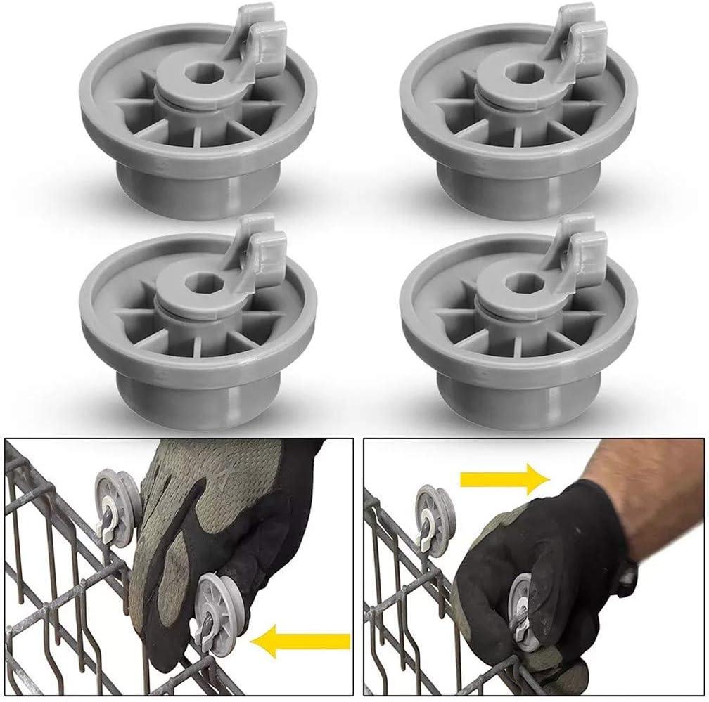 4x Dishwasher Wheel Bottom Basket Wheels For AEG Electrolux Privileg Dark Gray