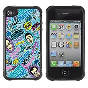 Hybrid Anti-Shock Defend Case for Apple iPhone 4 4S / Cool Psychedelic Colorful Pattern
