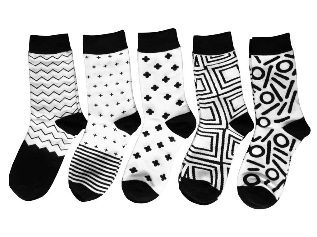 Leoparts 5 pack Women Casual Socks Black and White Patterned Fashion Geometric Novelty Design Crew by Leoparts (Image #1)