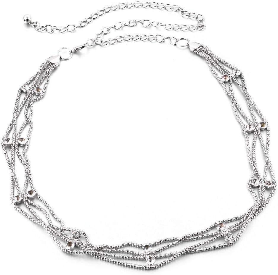 Weddecor - Cinturón de cadena de oro con diamantes de imitación incrustados y cierre elegante para mujer, 115 cm de largo, occidental, 25 mm de ancho, Plateado, talla única