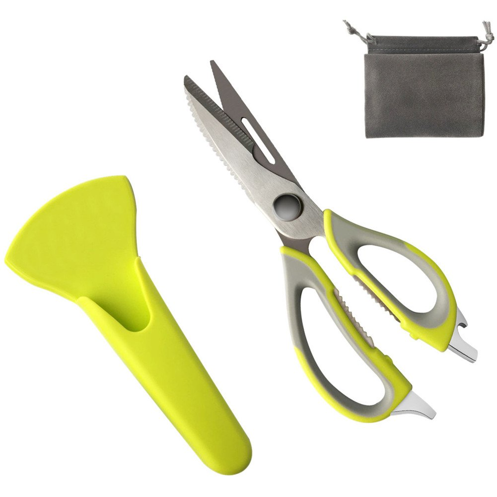 Pretty Green Sharp Blades Kitchen Shears, Broad-use Kitchen Scissors with Magnetic holder/Dust Bag, 8Oz Heavy Duty 410 Stainless Steel No-Rust Dishwasher Safe Shears, by SMF