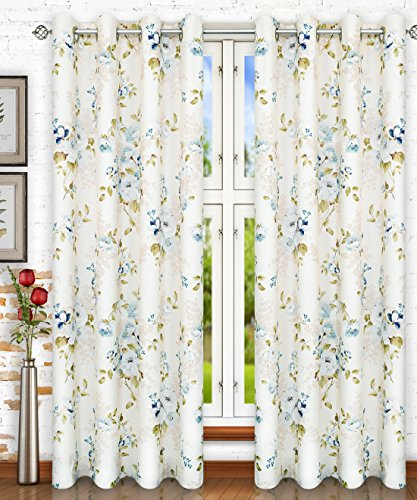 Ellis Curtain Chatsworth Traditional Floral Design (Lined Grommet Top Panel, 50 x 63