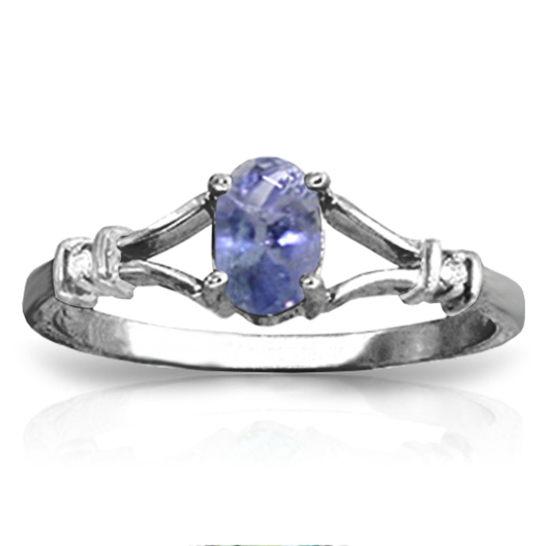 ALARRI 14K Solid White Gold Ring w// Natural Diamonds /& Tanzanite