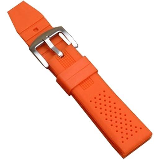 Correa para reloj, naranja, silicona, plástico, buceo, correa impermeable, deportiva, hebilla 24 mm: Amazon.es: Relojes