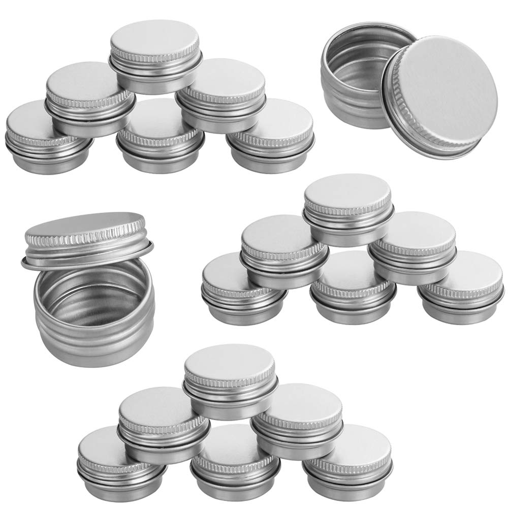 Aluminum Tin Jars, LANIAKEA 20Pcs 5ML 0.17oz Small Ounce Empty Metal Steel Aluminum Jar Cans, Empty Slip Slide Round Containers with Tight Sealed Twist Screwtop Cover for Lip Balm, Cosmetic, Candles or Tea SilkRoad Direct