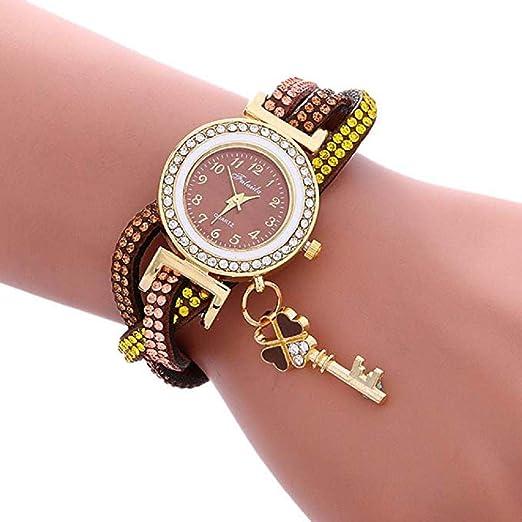 Scpink Promoción Relojes de Pulsera para Mujer Relojes de señoras de liquidación Relojes de Mujer a la Venta Relojes de Cuero (café): Amazon.es: Relojes