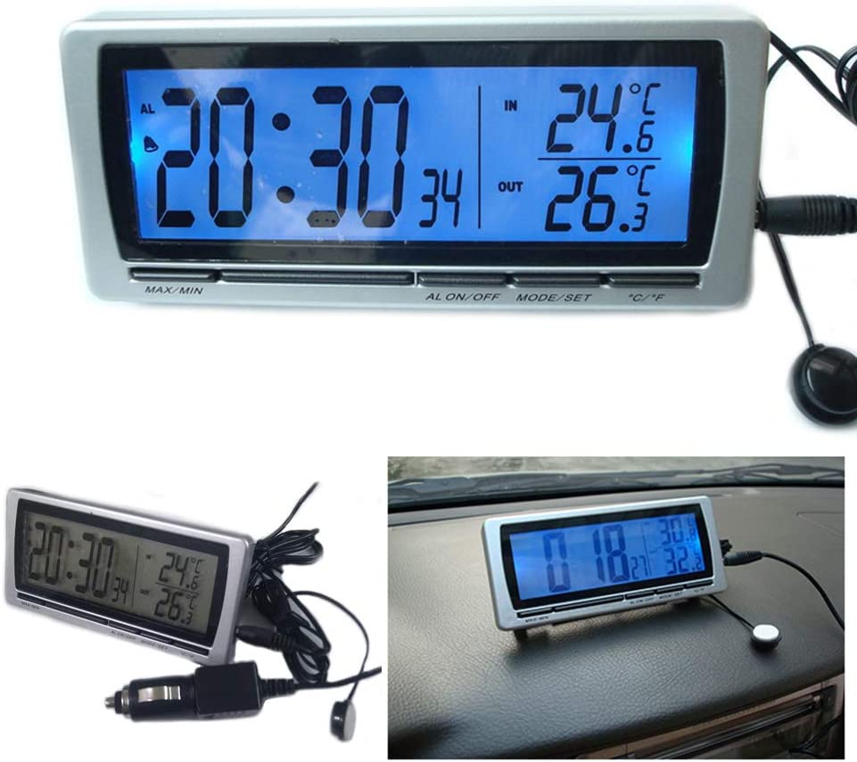 4in1 Car Large Luxury Car Calendar Clock Dual rmometer BOOMBOOST