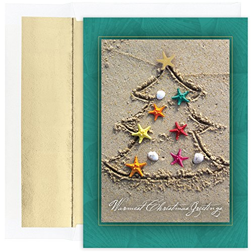 Masterpiece Studios Warmest Wishes Holiday Cards, Sand Tree, 18 Cards/18 Foil-Lined Envelopes (Masterpiece Studios Stationery)