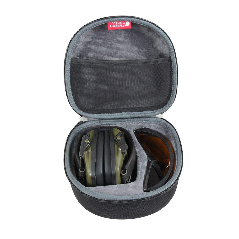 Hermitshell Hard Travel case fits Howard Leight Impact Sport OD Electric Earmuff and Genesis Sharp-Shooter Safety Eyewear Glasses