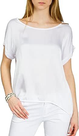 Caspar BLU017 Blusa Camiseta de Verano Elegante para Mujer de Rayon y Viscosa