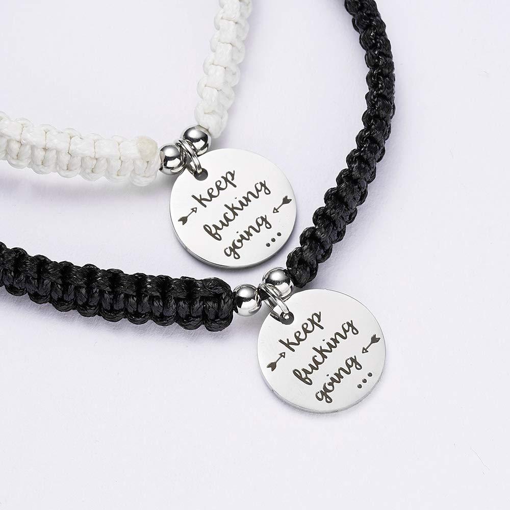 Rinhoo Handmade Key and Lock Lovers Braided Bracelet with Prince and Princess Letter Jewelry Set