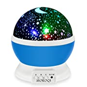 Night Lighting Lamp [ 4 LED Beads, 3 Model Light, 4.9 FT (1.5 M) USB Cord ] Romantic Rotating Cosmos Star Sky Moon Projector, Rotation Night Projection for Children Kids Bedroom (Blue)