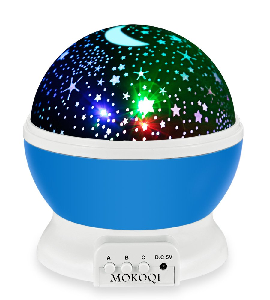 Night Lighting Lamp [ 4 LED Beads, 3 Model Light, 4.9 FT (1.5 M) USB Cord ] Romantic Rotating Cosmos Star Sky Moon Projector, Rotation Night Projection for Children Kids Bedroom (Blue) by MOKOQI