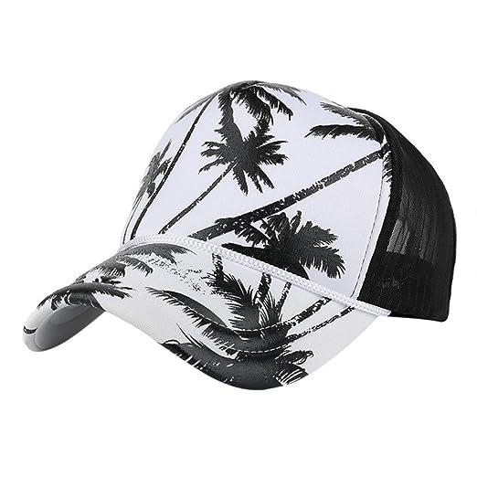 dcfdbf64867 Women Men Coconut Tree Print Baseball Cap Unisex Mesh Sun Hat Snapback Hip  Hop Cap (