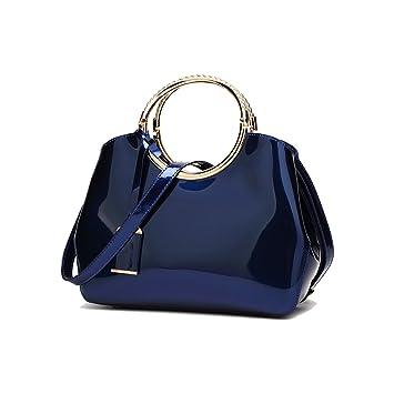 ef41ab495716b Coolives Damen mit Langer Schultergurt PU Lack Leder Golden Ring Griff  Gürteltasche Blau