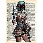 Boba Fett pin up girl, star wars art, sexy star wars, cool pop art, vintage dictionary art print 7