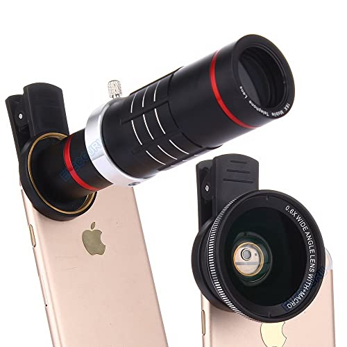 Elecguru HD Clip-on Camera Lens Kit,Universal 18X Zoom Telephoto Lens + 15X Super Macro Lens + 0.6X Wide Angle Lens for iPhone 7/6S/6 Plus/5/4,Samsung ,HTC and other Smartphones (black)