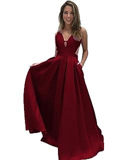 52bfc4bf9a5 Lovelybride A-Linie V-Neck Rückenfrei Ärmellos Lange Abendkleider mit  Taschen
