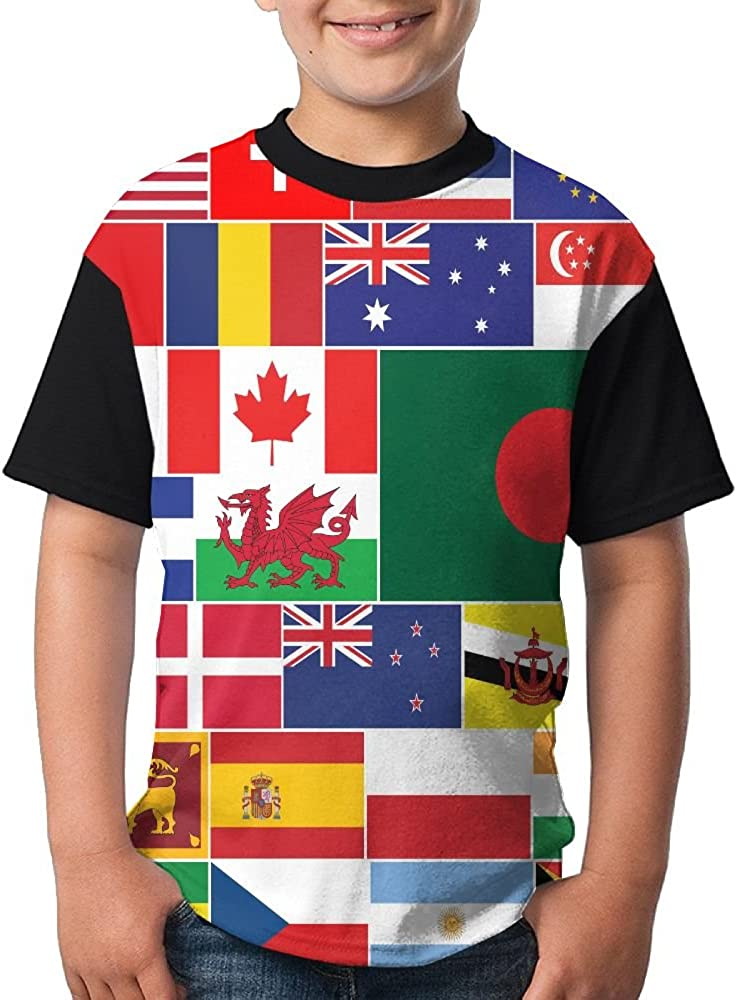 Jie Shikang National Flag of The World Youth Kids Sports Slim Short Sleeve T-Shirt Top Tee for Boys