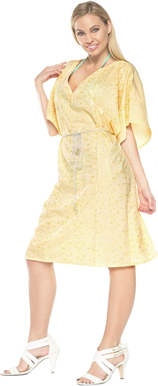 LA LEELA Womens Midi Caftan Cover Ups Beach Evening Party Dress Embroidery A