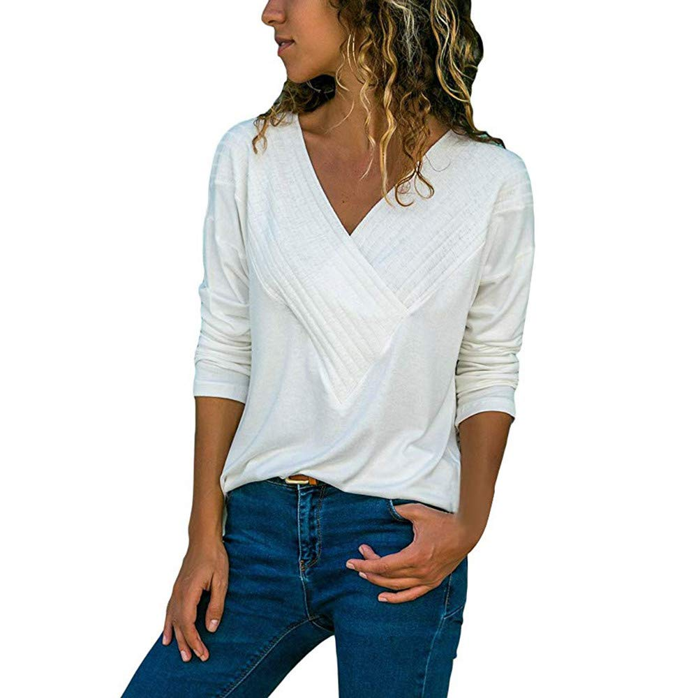 TWGONE V Neck T Shirts Women Long Sleeve White Casual Wrap Front Loose Fit Basic Blouse Tops(X-Large,White)