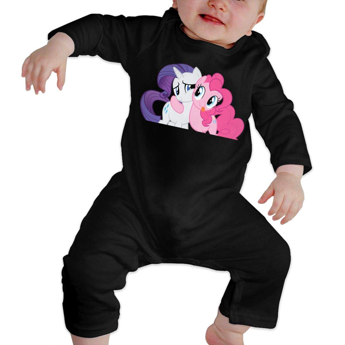 Unisex Baby Crew Neck Long Sleeve Pure Color Onesie Pony Friendship Crawling Clothes