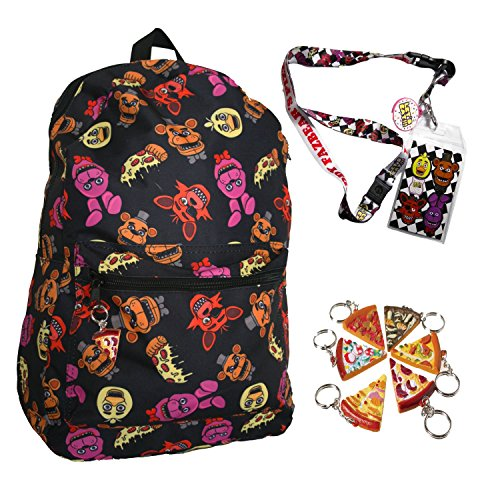 [FNAF Five Nights at Freddy's 17 Large Backpack with Lanyard and Keychain Charm] (Five Nights At Freddys Costume Mangle)