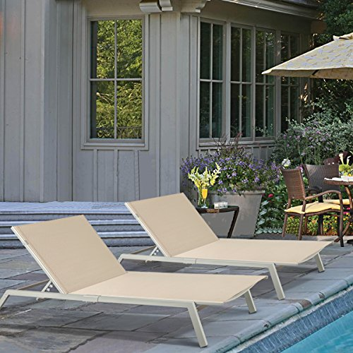 (Set of 2) Outdoor Patio Lounge Adjustable Chair Textilene for Beach Yard, 5 Reclining Positions by URSTAR
