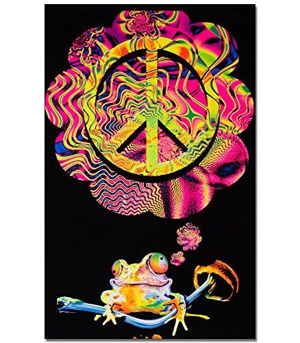 Mushroom Frog Blacklight Reactive Poster