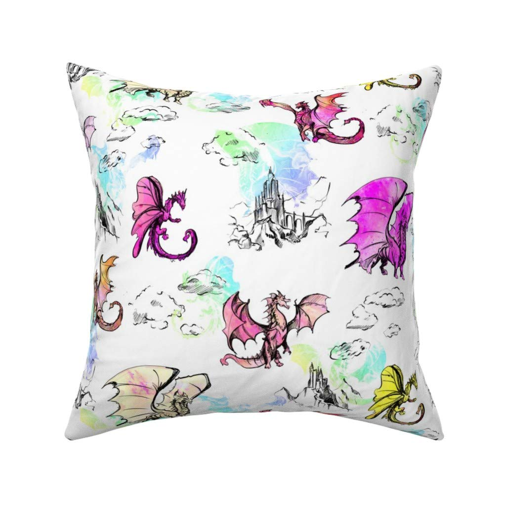 Amazon.com: Dragons Linen Cotton Throw Pillow Dragon Rainbow ...