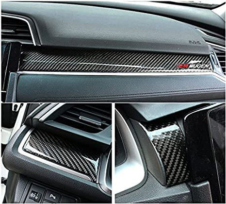 Amazon.com : Brand New Real Carbon Fiber Center Console Moulding Cover 3pcs For Honda Civic EX LX 2016-2018 : Everything Else