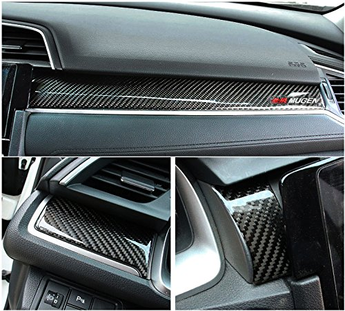 Brand New Real Carbon Fiber Center Console Moulding Cover 3pcs For Honda Civic EX LX 2016-2018