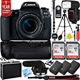 Canon EOS 77D 24.2 MP DSLR Camera Wi-Fi & Bluetooth w/EF-S 18-55mm IS STM Lens Triple Battery & Battery Grip Complete Video Recording Bundle - 2018 Beach Camera 24 Piece Value Bundle