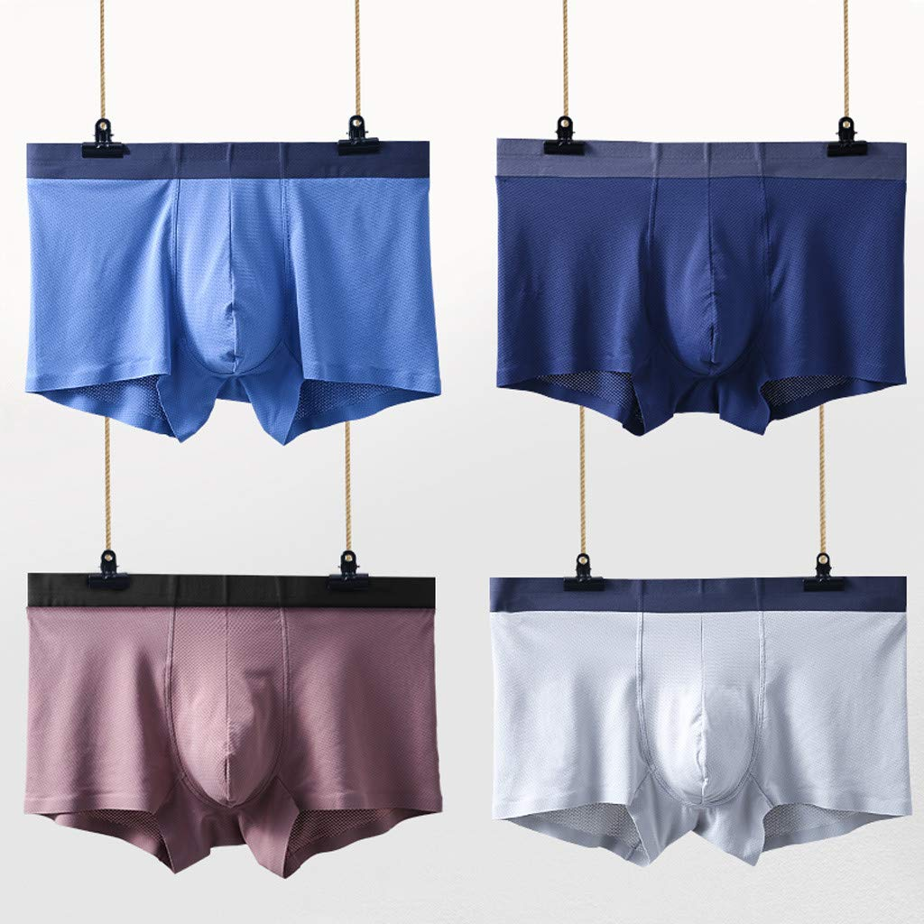 Boxer Briefs 4PC Mens GREFER Plus Size Mesh Breathable Underpants Thin Ice Silk Pouch Underwear Without Trace