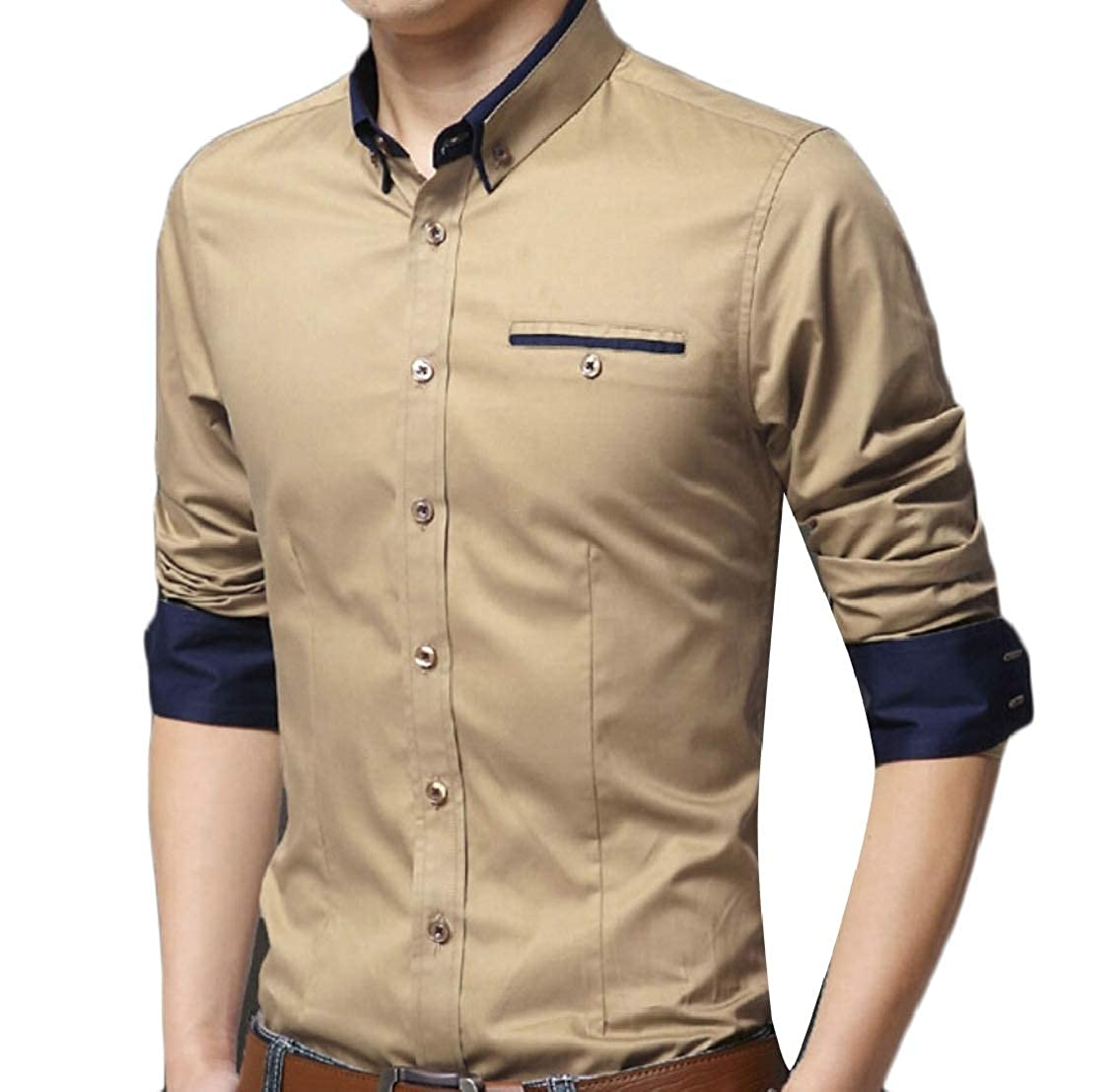 Yayu Mens Solid Color Bussiness Loose Button Down Dress Shirt Top Blouse