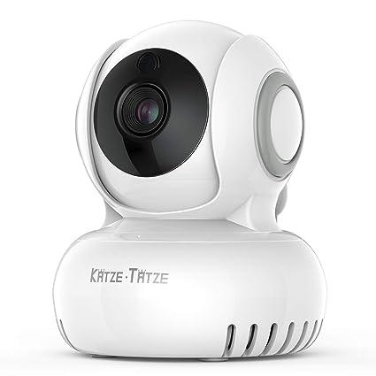 Katze Tatze Bebé Monitor Vigilabebés Inalambrico 720P HD IP Cámara con Visión Nocturna, Intercomunicador Bidireccional