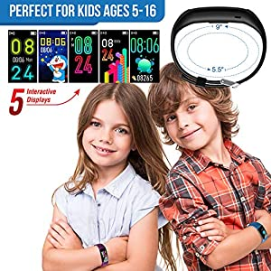 Inspiratek Kids Fitness Tracker for Girls and Boys Age 5-16 (4 Colors)- Waterproof Fitness Watch for Kids with Heart Rate Monitor, Sleep Monitor, Calorie Counter and More – Kids Activity Tracker