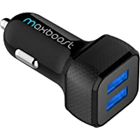 Car Charger, Maxboost 4.8A/24W 2 USB Smart Port Charger [Black] For iPhone XS Max XR X 8 7 6s Plus SE, Galaxy S9 S8 S7 Edge,Note 9 8, LG G6 G5 V10 V20 V30, HTC, Nexus 5X 6P, Pixel, iPad Pro Protable