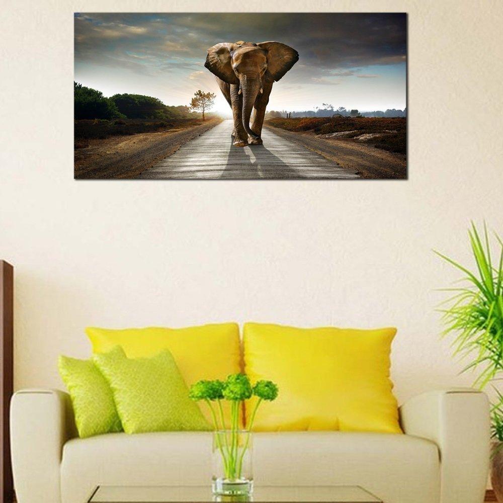 Amazon.com: Wieco Art Elephant Canvas Paintings Wall Art One piece ...