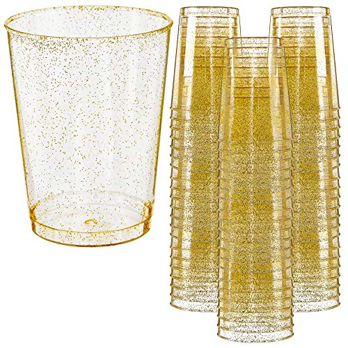 Glitter Disposable Cups | 10 oz. 50 Pack | Clear Plastic Cups | Gold Glitter Plastic Party Cups | Disposable Plastic Wine Glasses for Parties | Plastic Cocktail Glasses | Wedding Holiday Tumblers