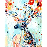 [WOODEN FRAMED] Diy Oil Painting, paint By Number Home Decor Wall Pic Gift- Painted Deer 16*20 inch