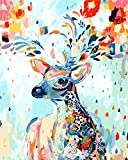 [Wooden Framed] Diy Oil Painting Paint by Number  Kit for Adult Home Decor Wall Pic Value Gift-Painted Deer 12x16 Inch