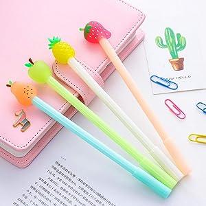 WIN-MARKET 8pcs Creative Stationery Fruit Pie Gel Pen 0.38mm Black Ink Pens Kawaii Apple Pearl Strawberry Pineapple for Kids Gift Office School Supplies Candy Colors