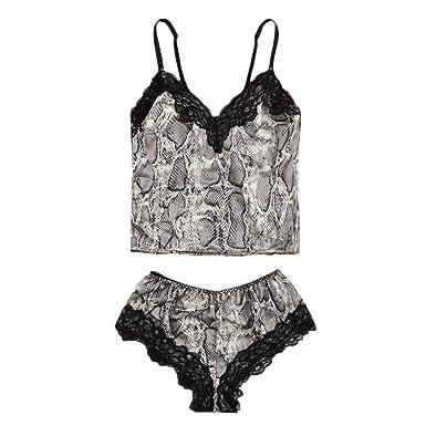 30f5d44ecc6e New Women Sexy Snakeskin Print Lace Trim Top Vest Set Pajamas Lingerie  Sleepwear Black