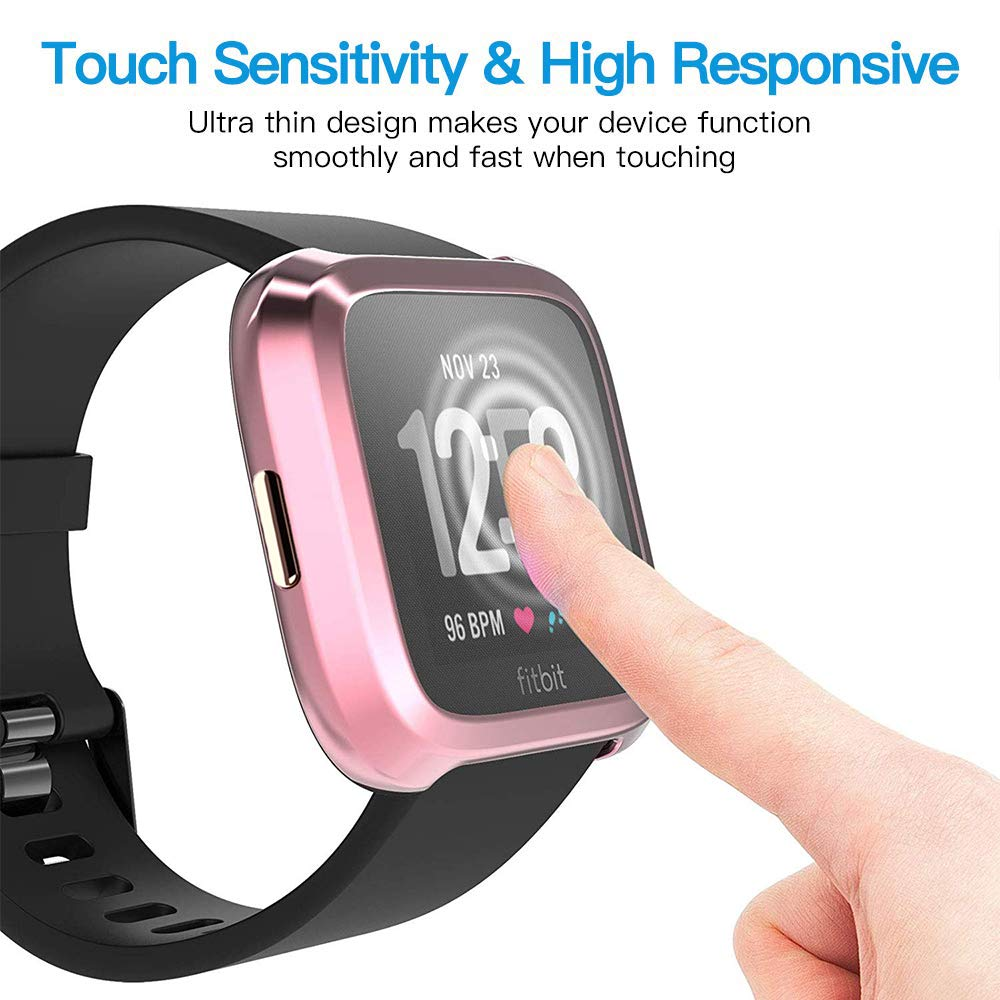Chok Idea Full Cover Schutzh/ülle H/ülle Compatible with Fitbit Versa 2 Displayschutz,360/° Anti-Fall All Around Bildschirm und Rand Case Protector,2 Pack,Transparent X2