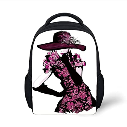 53f67aa2a574 Amazon.com: iPrint Kids School Backpack Girls,Woman Figure Furry Hat ...