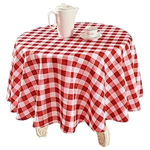"YEMYHOM Modern Printed Spill Proof Cloth Round Tablecloths (60"" Round, Red and White)"