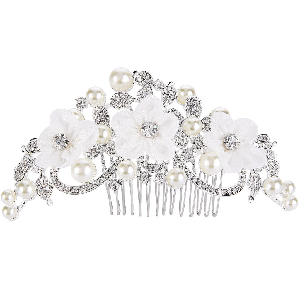 EleQueen Women's Silver-tone Crystal Simulated Pearl Flower Art Deco Bridal Hand-made Hair Comb Clear 16001236ca